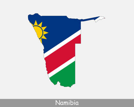 Namibia Flag Map. Map of the Republic of Namibia with the Namibian national flag isolated on white background. Vector Illustration.