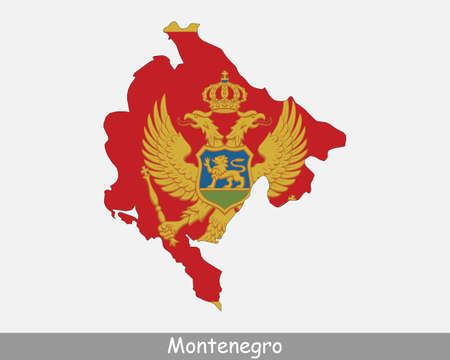 Montenegro Map Flag. Map of Montenegro with the Montenegrin national flag isolated on white background. Vector Illustration.