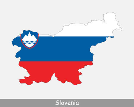 Slovenia Flag Map. Map of the Republic of Slovenia with the Slovene national flag isolated on a white background. Vector Illustration.