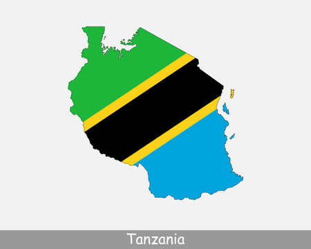 Tanzania Flag Map. Map of the United Republic of Tanzania with the Tanzanian national flag isolated on a white background. Vector Illustration.