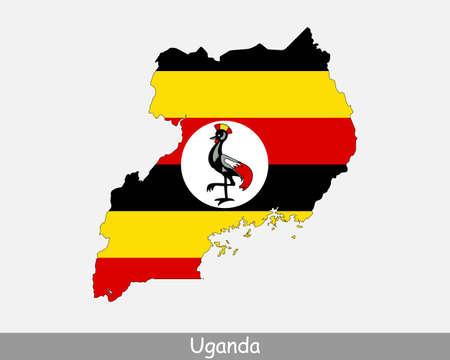 Uganda Flag Map. Map of the Republic of Uganda with the Ugandan national flag isolated on a white background. Vector Illustration.