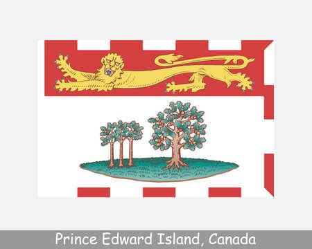 Prince Edward Island Canada Flag. Canadian Province Banner. Flag of PE, CA. Vektorové ilustrace