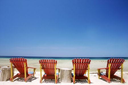 Resort beach chairs at Lombok, Indonesia Stock Photo - 238762