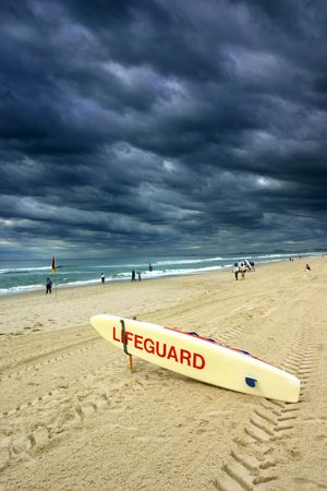 drained: Lifeguard board in a really cloudy day, shot at Goldcoast, Australia