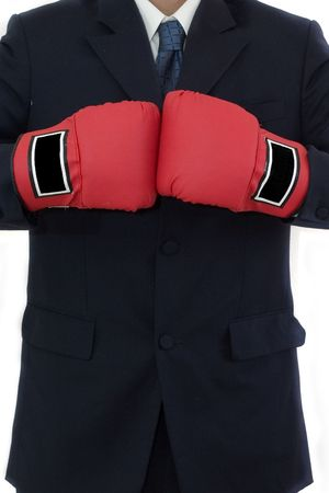 knock out: Businessman ready to knock out some competitors