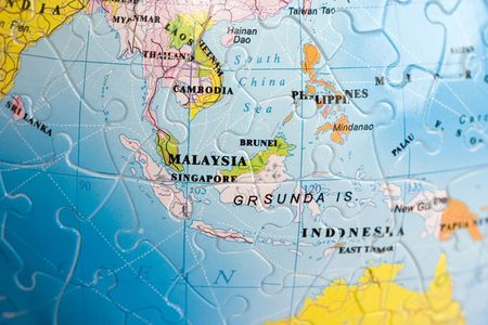 puzzle globe: Close up on Sout-East Asia Stock Photo