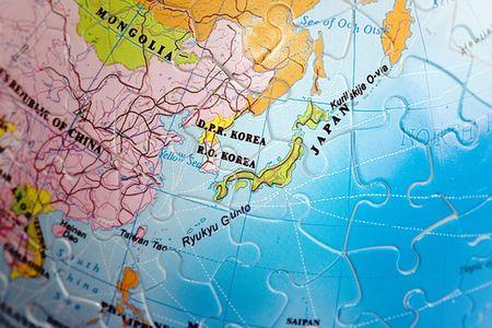 Close up on Japan and Korea photo