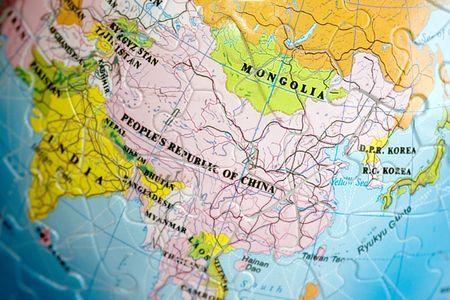 Close up on China and Mongolia photo