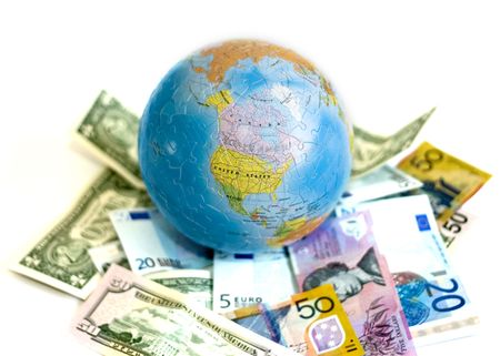 with Euro, US Dollars, and AUS Dollars photo