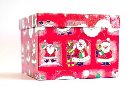 Christmas gift box over white photo