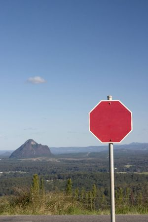 Blank road sign with mountains scenery at the background Stock Photo - 240464