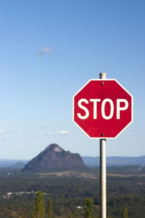Stop Sign at Glasshouse Mountains photo