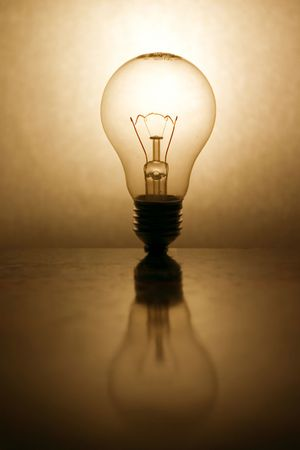 lightbulb with reflection  Stock Photo