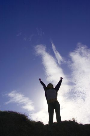 Silhouette of man celebrating his success Stock Photo - 240451
