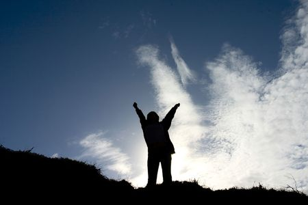 Silhouette of man celebrating his success Stock Photo - 240444
