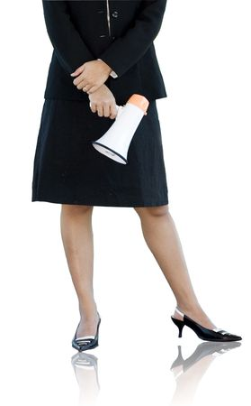 Businesswoman with a megaphone over white background.