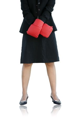 Businesswoman standing tall ready to compete photo