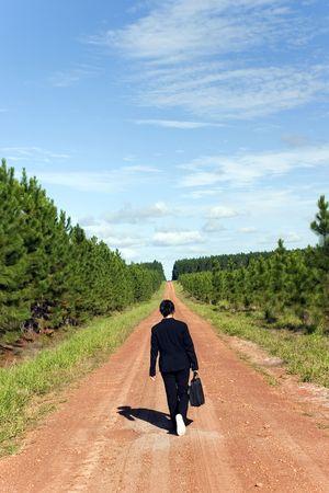 walking alone: Businesswoman caminar por s� solo