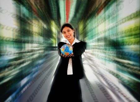 Woman holding a globe with binary number conceptual design photo