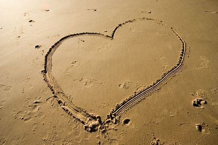 dearest: Drawing a heart on the sand