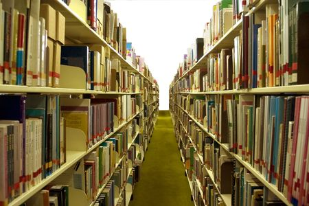 shelve: A view of the stacks in the main library at Queensland Uni. Stock Photo