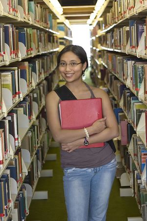 Asian student  in a library Stock Photo - 240147