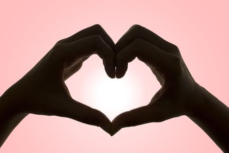 loving hands: Silhouette of hands of love.. Stock Photo