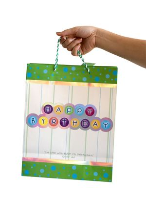 verse: Christian Birthday Bag with Bible verse Stock Photo