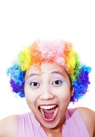 clowning: Young asian woman with clown wig