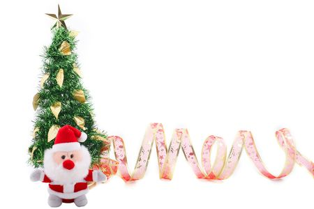 Isolated Christmas tree whot with red ribbon and santa claus over white background photo