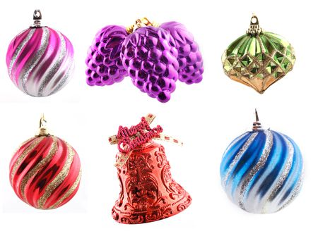 Assorted Christmas decorations in high resolution (4500x3348px) shot over white background photo