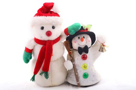 two cute snowmen standing in a row over a white background photo