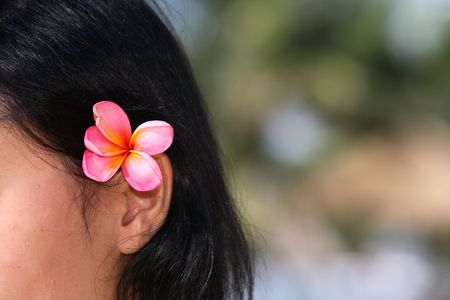 Woman with frangipani on her ear. photo