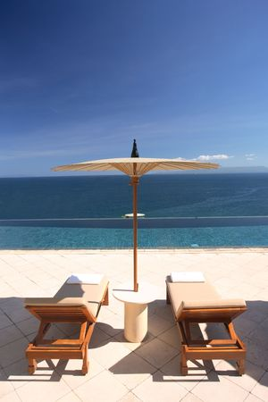 exclusivity: Beautiful view from the hotel swimming pool Stock Photo