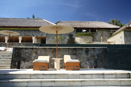 Hotel's gazebo located near the swimming pool Stock Photo - 648306