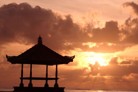 bali: Gazebo at beautiful beach
