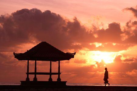 joga: Yoga at sunrise Stock Photo