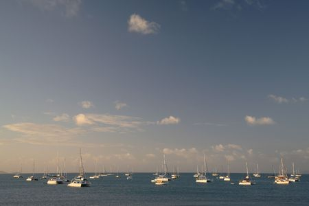 sailboats on whitsunday beach - australia shot at sunset Stock Photo - 665279