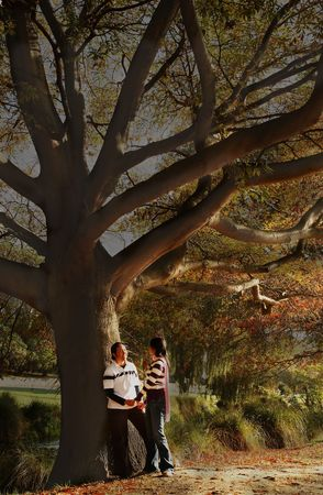 Romantic Couple in autumn at Christchurch, New Zealand Stock Photo