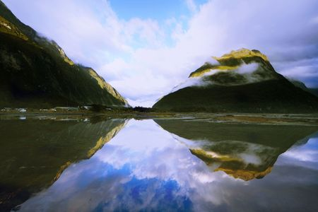 Beautiful mirror mountains in Milford Sound, New Zealand