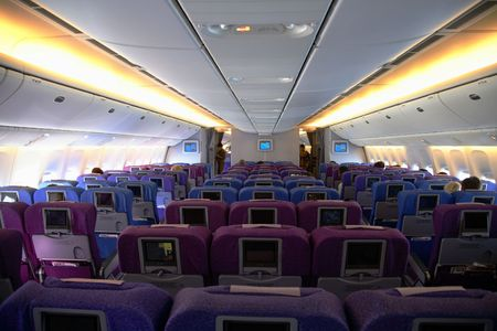 Interior photo of an anonymous airplane. Stock Photo - 744326