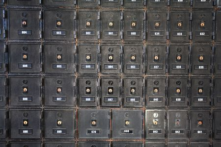Secure mail boxes made from steel at Australian Post office, Brisbane Stock Photo - 744324