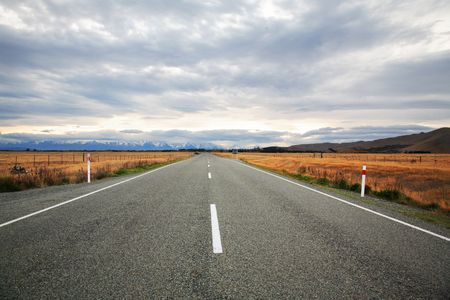 Road-trip to New Zealand with a beautiful mountains view Stock Photo