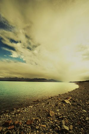 tekapo: Overcast Lake Tekapo, New Zealand. Stock Photo