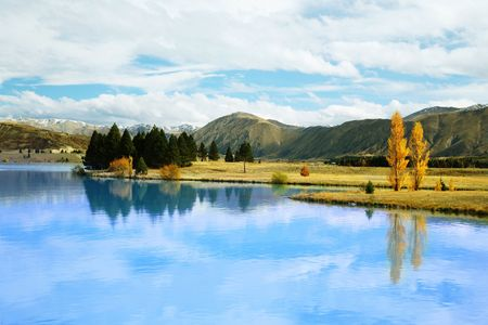 tekapo: Wonderful view of Lake Tekapo, New Zealand, during Autumn. Stock Photo