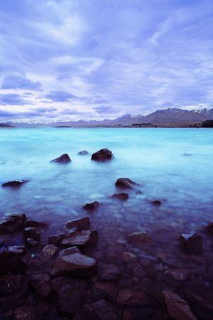 tekapo: Lake Tekapo during sunset, New Zealand