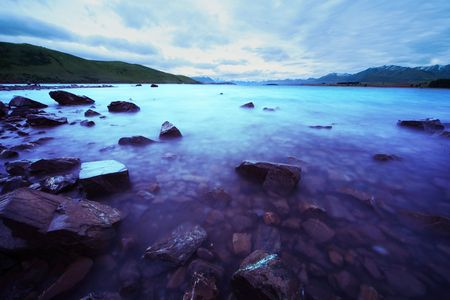 Lake Tekapo during sunset, New Zealand photo