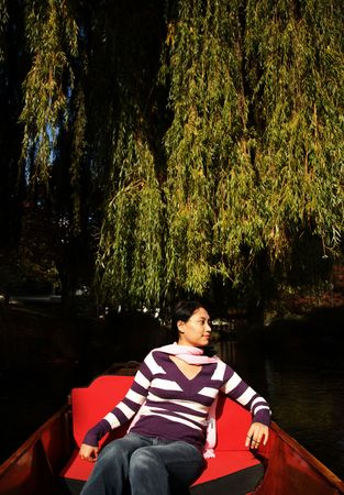 punting: Enjoying scenery at christchurch while punting Stock Photo