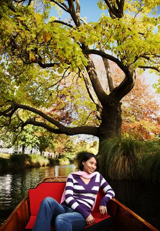 punting: Enjoying scenery at christchurch while punting in Avon river Stock Photo