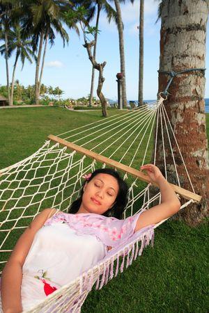 Asian woman enjoying her vacation photo